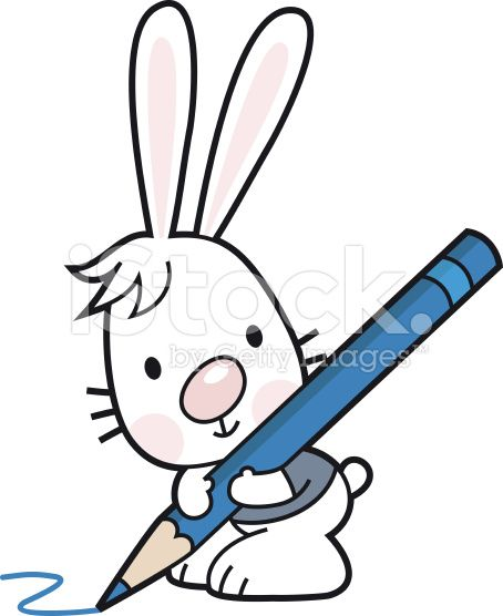 cartoon Bunny with a crayon / colored pencil royalty-free stock vector art
