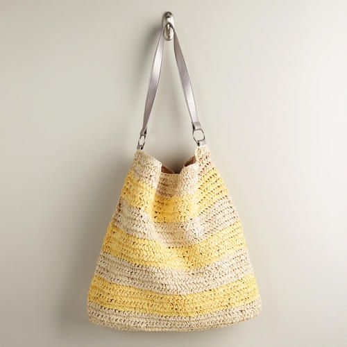 One of my favorite discoveries at WorldMarket.com: Yellow and Cream Woven Beach Bag
