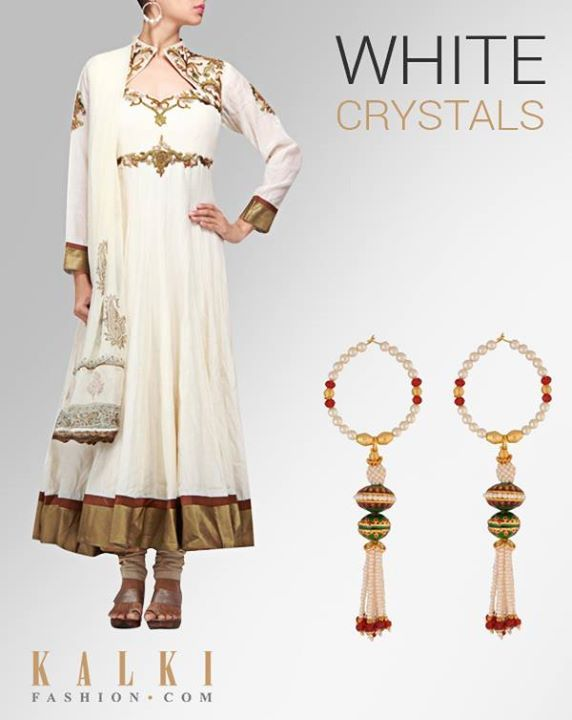WEAR YOUR WHITE CRYSTALS TODAY!  Pair up this white beads earring with our white crafted anarkali! Take your elegance to another level with this look!  Shop anarkali: http://tiny.cc/12zdsx Shop earring: http://tiny.cc/e2zdsx