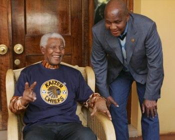 Madiba and Kaizer Mutaung at the official opening of the Kaizer Chiefs village, South Africa www.SouthAfricanTvAds.com