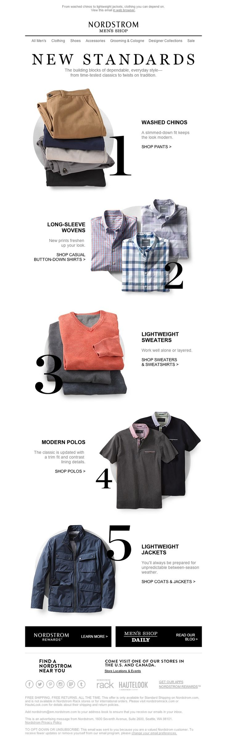 Nordstrom - The New Standards: 5 Items for Everyday Style - newsletter - email - marketing