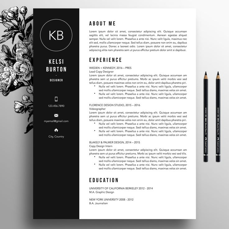 Professional Resume Template + Cover Letter Template, References, MS Word, Mac, PC, Creative Resume Template, Modern Resume Template, 3 Page Resume, 2 Page Resume, A4, US Size, Kelsi