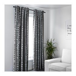 IKEA - GUNNI, Block-out curtains, 1 pair, , The curtains prevent most light from entering and provide privacy by blocking the view into the room from outside.Effective at keeping out both draughts in the winter and heat in the summer.The curtains can be used on a curtain rod or a curtain track.You can hang the curtains on a curtain rod through the hidden tabs or with rings and hooks.The heading tape makes it easy for you to create pleats using RIKTIG curtain hooks.