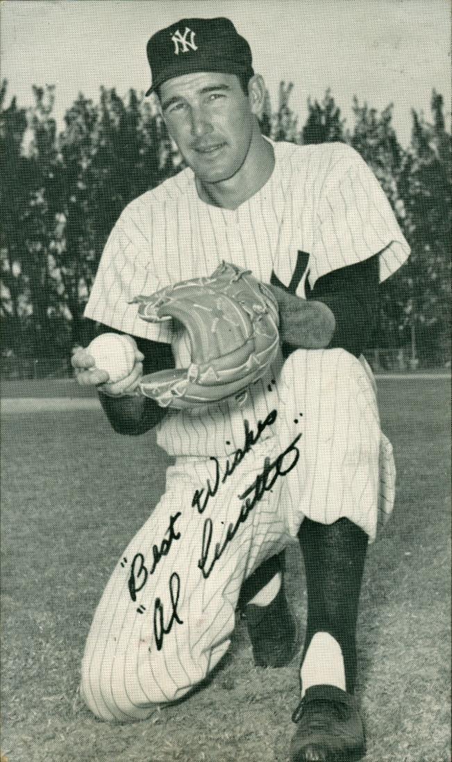 1957 J D Mc Carthy Baseball Postcard Al Cicotte New York Yankees