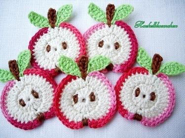 crochet applique apple