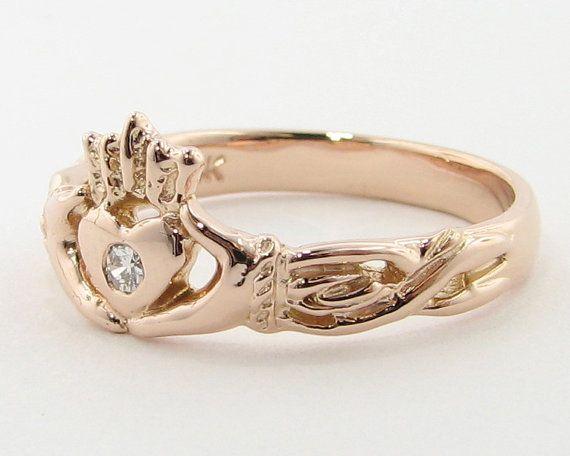 Rose Gold & Diamond Claddagh Ring Irish Band by WexfordJewelers, $459.00