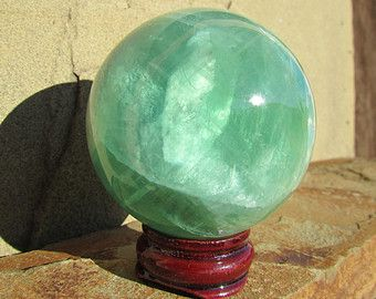Large Fluorite Sphere - Chinese Fluorite - 55mm Green Fluorite Sphere - Stone Sphere Crystal Ball