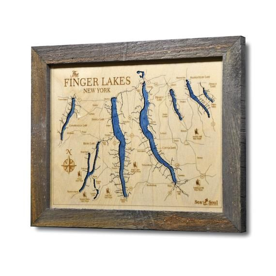 Best Selling Finger Lakes 13x16 Nautical Map Wood Etsy Wood Map Art Wood Map Nautical Map