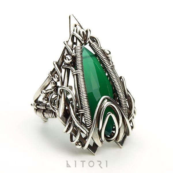 www.polandhandmade.pl #polandhandmade #jewellery #litori  OCTANIS - unikatowy pierścień z zielonym onyksem