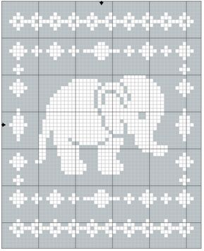 Padrão De Crochet Filet Elephant Blanket