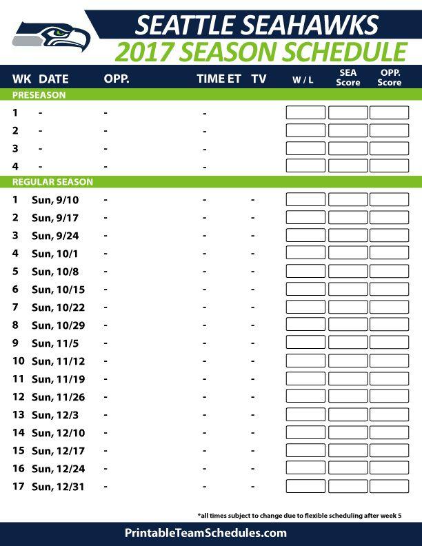 2017 Seattle Seahawks Schedule