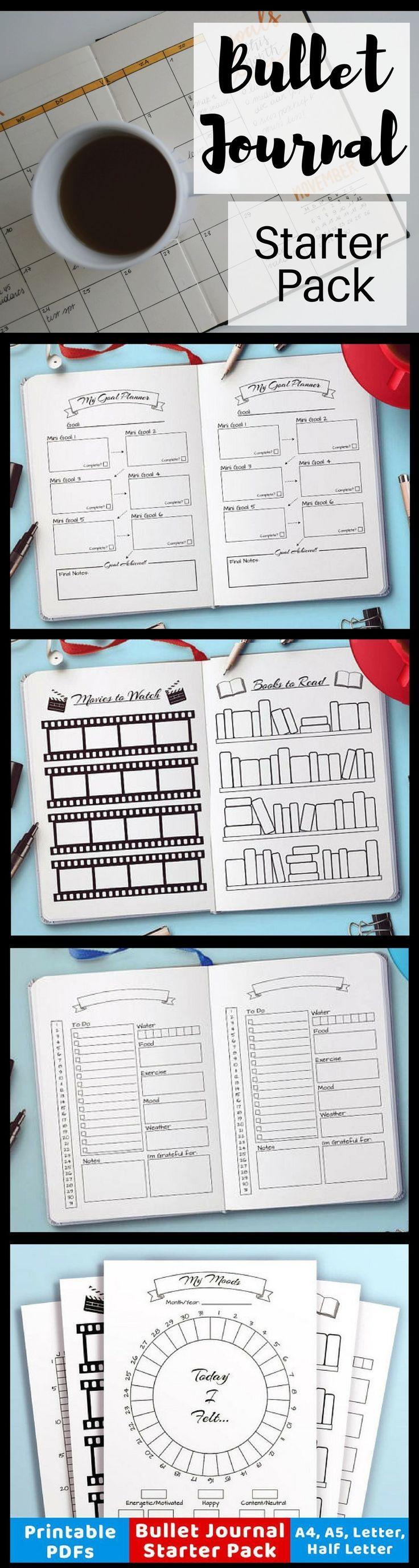 Starter pack of printables for bullet journals. Great way to get started! #bulletjournaling #planner #ad #printable