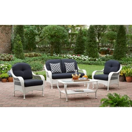 better homes and gardens azalea ridge 4 piece patio conversation set white seats. beautiful ideas. Home Design Ideas