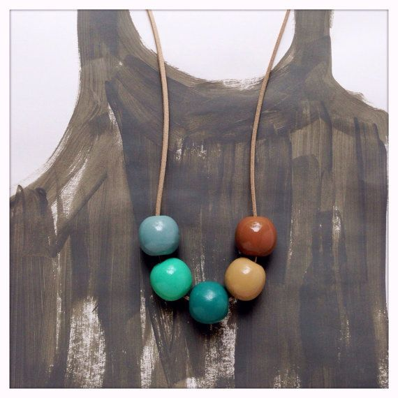 Hand Painted Wood Bead Necklace in Arizona by TheColorfulNest