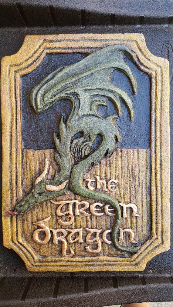 Green Dragon Sign  Hobbit Lord of the Rings by IckyArtCompany