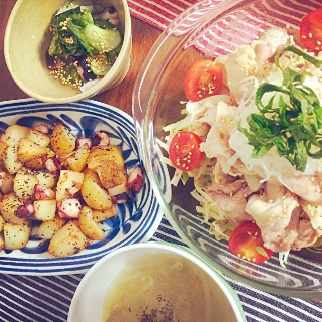 はじめての料理は失敗のないもので。。 - 14件のもぐもぐ - 冷しゃぶ、タコとキュウリの酢の物、たことポテトのバジル炒め♪ by 123nicochan