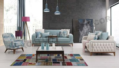 AS Koltuk Home Decor: For Sale - Baby Blue Modern Sofa Set