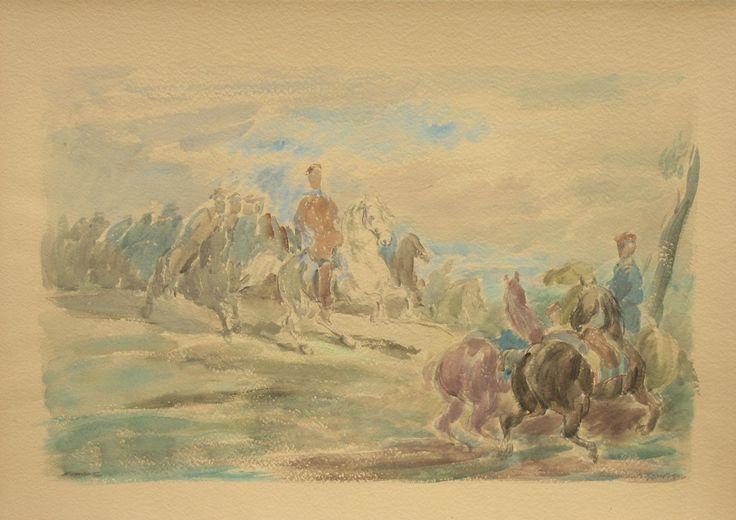 Eugeniusz GEPPERT ,Kawaleria, Szarża ułanów , akwarela, papier, 50,5 x 70,5 cm