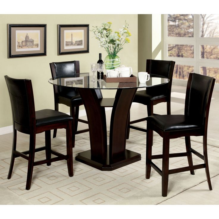 Furniture Of America Carlise II Contemporary 5 Piece Round Counter Height Glass Dining Set Dark Cherry Black