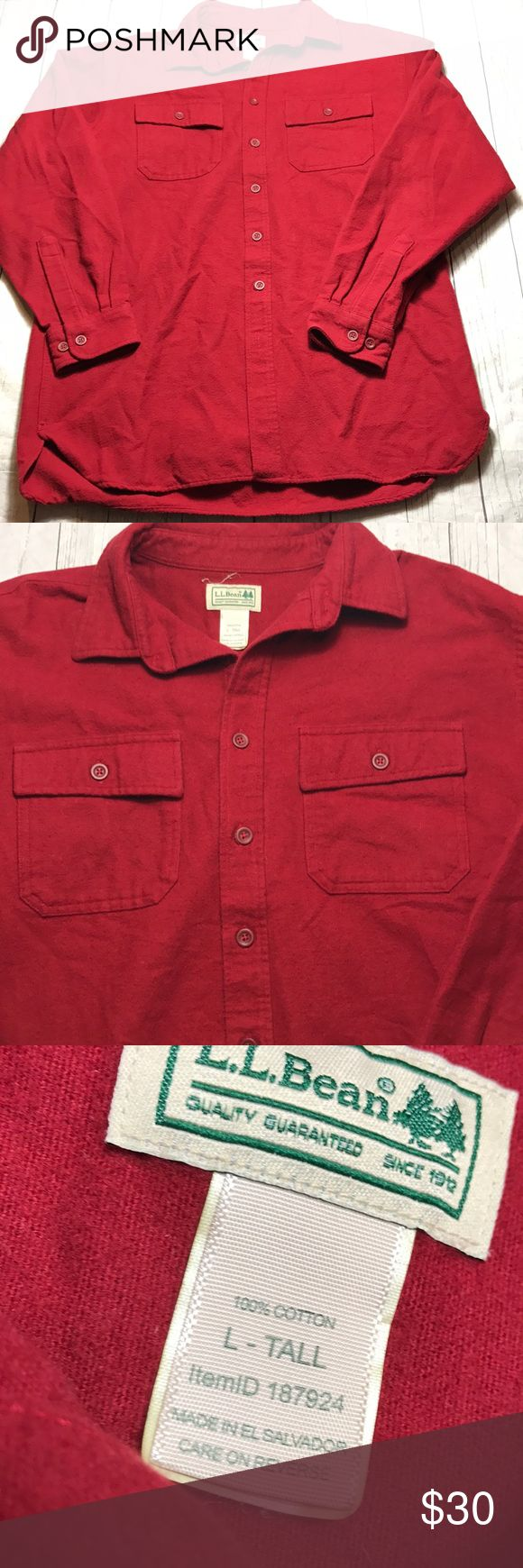 """Vintage LL BEAN Chamois Cotton Heavy Flannel Shirt Vintage L.L. Bean Chamois Shirt Red Large Tall Heavyweight Good Condition with material pilling consistent with age.  Chest: 23"""" Length: 31"""" Sleeve: 35""""  L L.L. Bean Shirts Casual Button Down Shirts"""