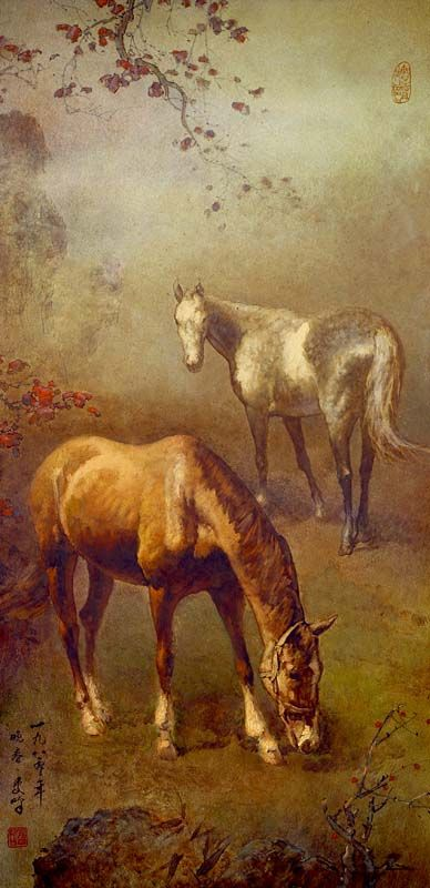 Lee Man Fong - Two Horses