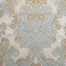 Diseño con formas de tipo barroco, en color gris, plata y cobre en este papel pintado de la colección Karat de Parati.