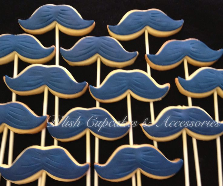Moustache cookies. Mo cookies. Moustache cookie cutter available at www.dlishcookies.com