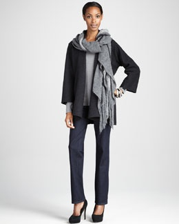 -4236 Eileen Fisher Lightweight Boiled Wool Coat, Brushed Ombre Wrap & Organic Straight-Leg Jeans