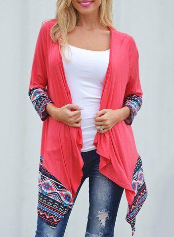 Stylish Red Geometric Printed Spliced Irregular Cardigan For WomenSweaters & Cardigans   RoseGal.com