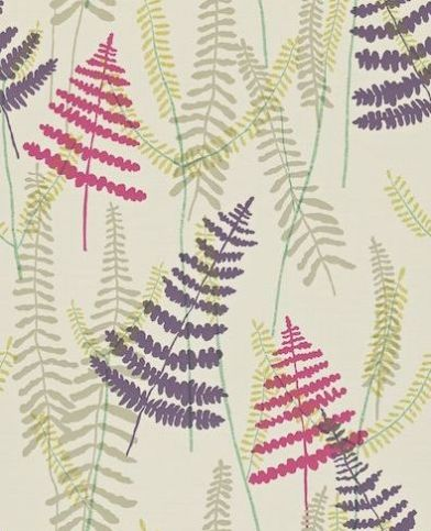Athyrium (110214) - Scion Wallpapers - A pretty overlapped Athyrium design in pink, purple and green on a cream stitched background. Other colour ways available. Please request a sample for true colour match. Paste-the-wall.