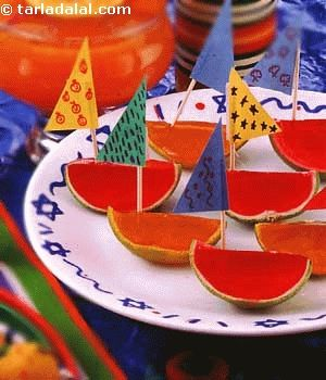 Jelly Boats recipe | Step by Step recipes for Kids | by Tarla Dalal | Tarladalal.com | #2616