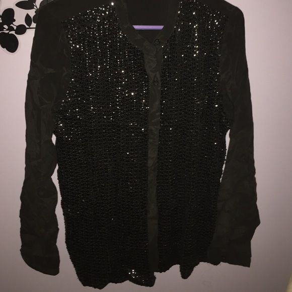 SALE Sequin MK blouse A super pretty dress! Black on black. It's a black longsleeved blouse, a silky soft material, with black beads all down the front. It's a nice material and wait for the fall and winter, and perfect for the upcoming holidays! Also, it's wrinkly and I'm too lazy to steam for pics Michael Kors Tops Blouses