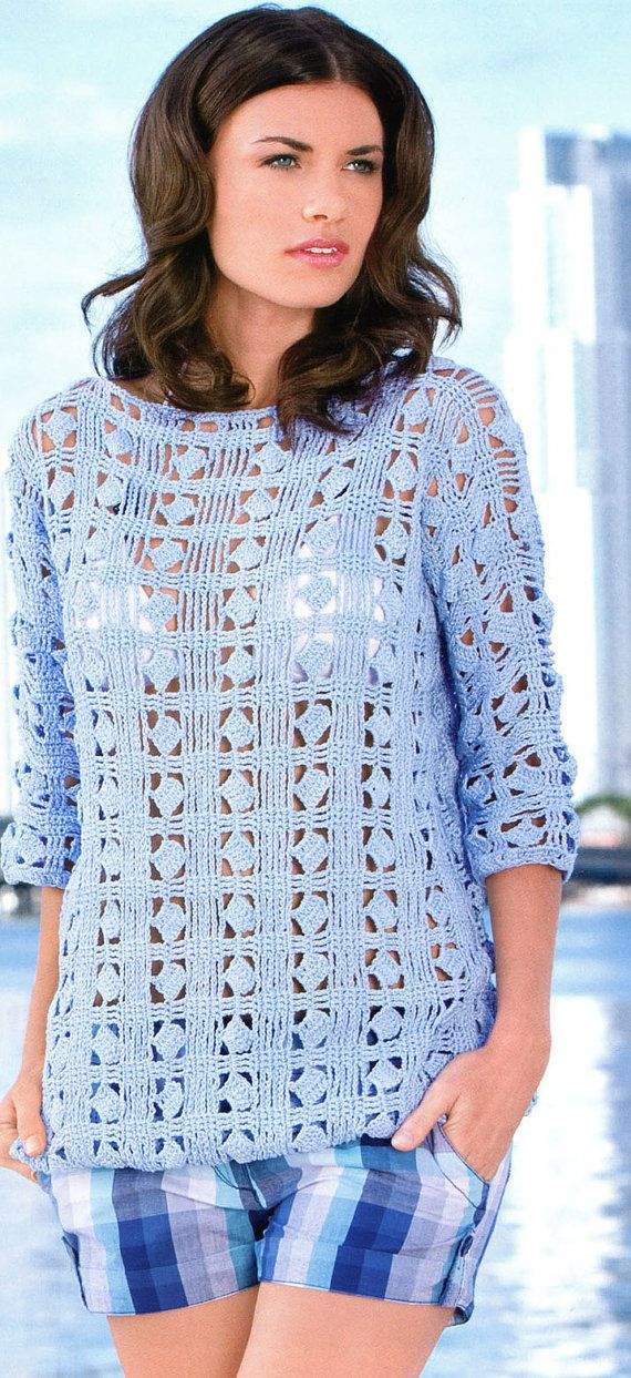 Pattern only  a crochet spring/summer/fall blouse by AsDidy, $2.50