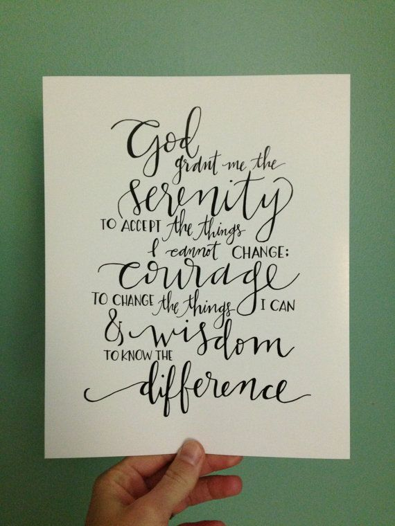 serenity prayer  hand lettered print by ChosenLetteringCo on Etsy