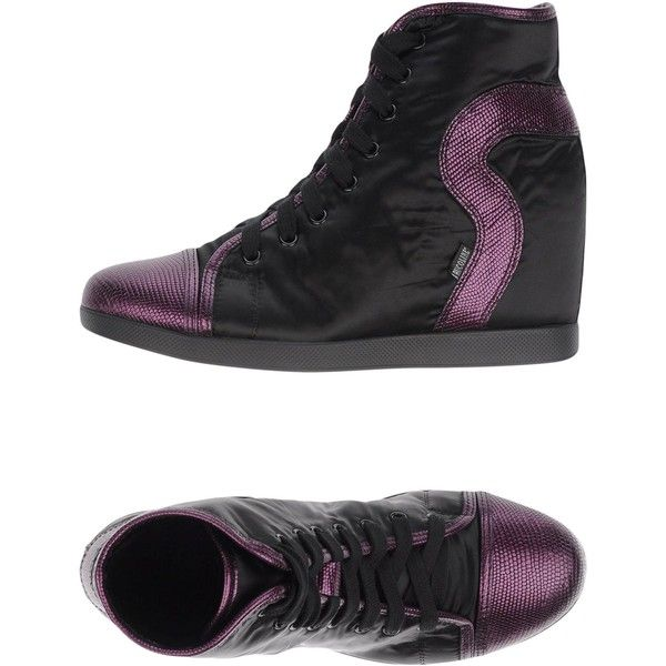 Ruco Line High-tops & Sneakers ($140) ❤ liked on Polyvore featuring shoes, sneakers, black, black wedge sneakers, hidden wedge sneakers, black hi tops, animal trainer and black wedge shoes