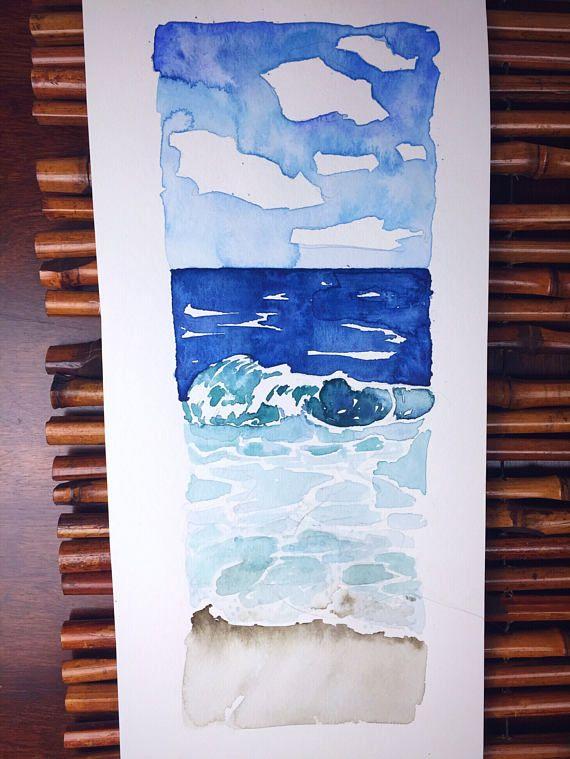 Beckoning III ocean original watercolor painting