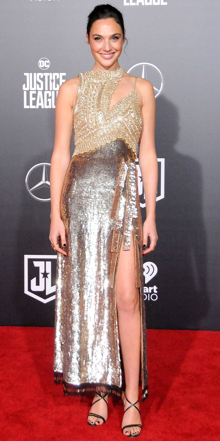 Look of the Day - Gal Gadot from InStyle.com During the Los Angeles premiere of Justice League, Gal Gadot showed up looking like a glamorous superhero in a gold Altuzarra gown.