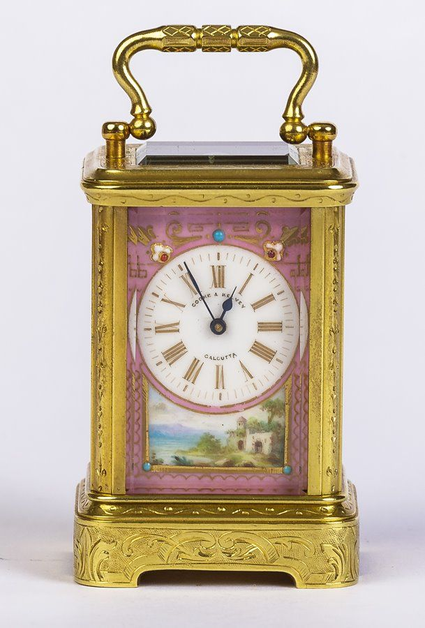 A beautiful 8 Day Miniature French Porcelain Panel Carriage Timepiece in engraved cornice case. Offered by Horological Workshops at The Edenbridge Galleries, Kent. www.edenbridgegalleries.com
