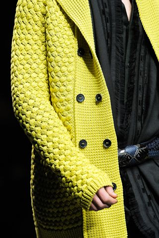 Roberto Cavalli fall 2012- Sometimes a great piece of chunky knitwear can double as outerwear in the fall.This Yellow Lime basket weaved over sized knitted cardigan is perfect for such occasions.