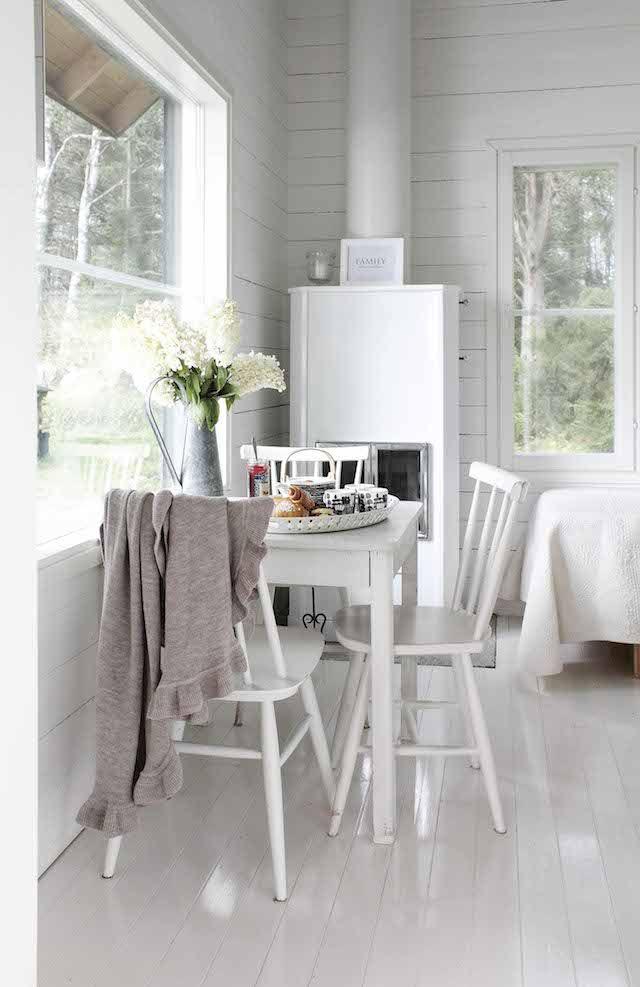 White kitchen - a tour of Johanna Lehtinen's idyllic Finnish summer cabin in the archipelagos.