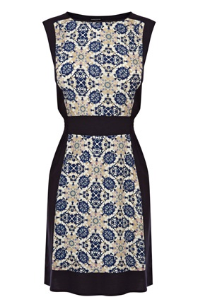 Blue Tile Dress from Warehouse