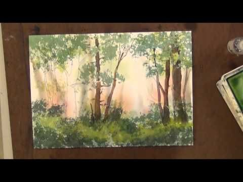 ▶ How to Sponge Trees with Watercolor Painting - YouTube