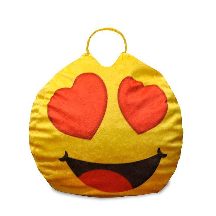 Heart Eyes Emoji Mini Bean Bag Chair Yellow