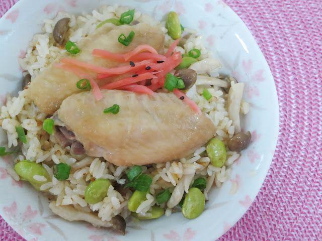 PinkyPiggu: Miso Chicken Wing Rice using Panasonic Rice Cooker...
