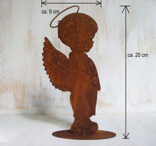 Metall-Schutzengel-Figur-zum-Stellen-Rost-Deko-Engel-20x9cm-Fluegel-Weihnachten