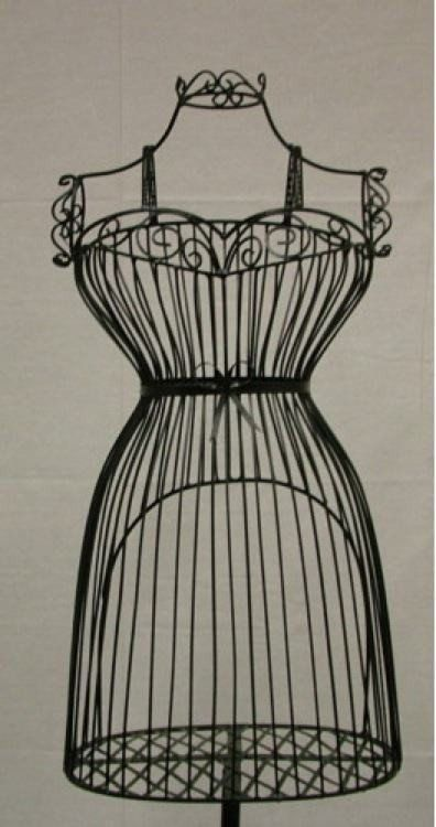 This Female Wire Dress Form is made from wrought iron and has its own display shelf and antique style sturdy metal base. This is the style form the many people use to decorate for seasonal floral disp