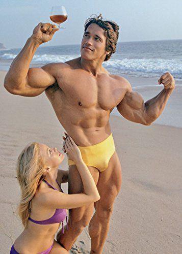 Vintage Arnold Schwarzenegger Poster Posing On Beach With Bikini Model 811 Amazon ArnoldSchwarzenegger