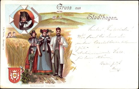 Wappen Litho Stadthagen, Menschen in Bückeburger Trach, Felder, Getreide #westerten #oesterten