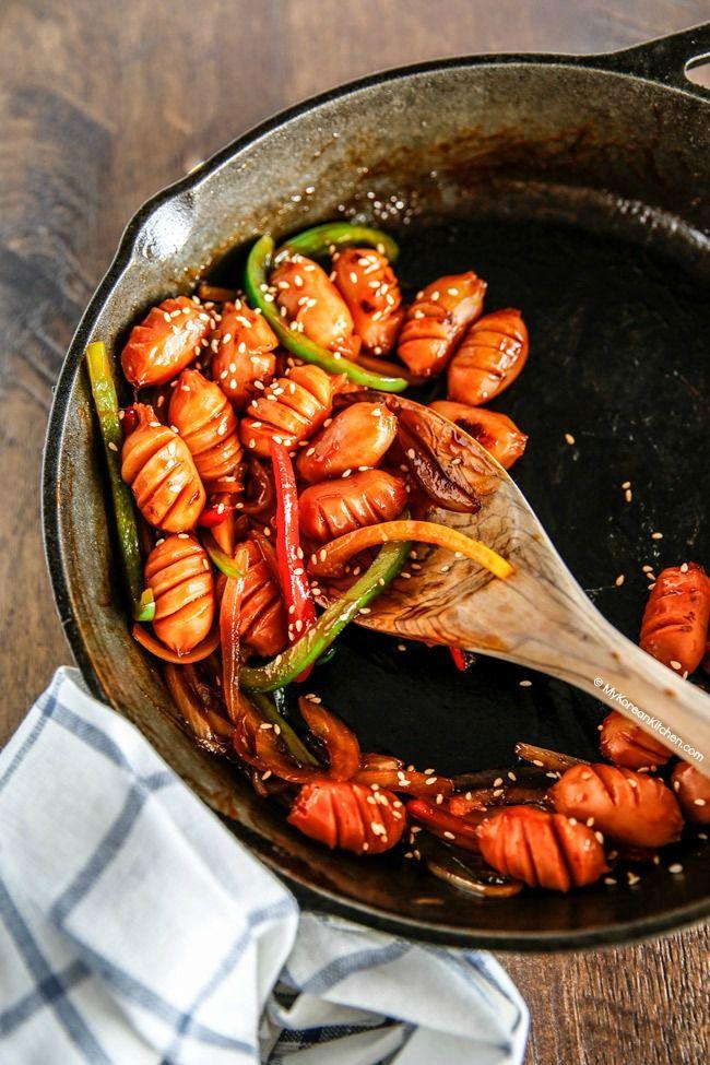 How to make Korean style sausage stir fry | MyKoreanKitchen.com