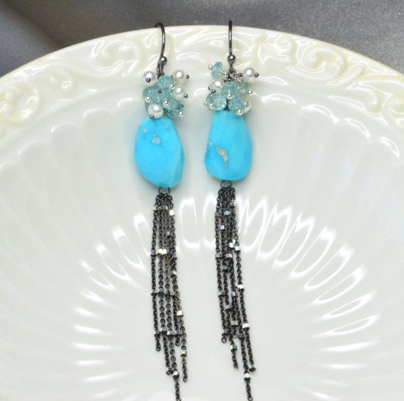 Natural Sleeping Beauty Turquoise Silver Tassel Earrings with
